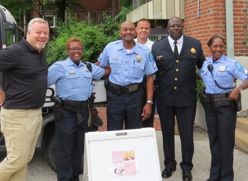 Nicki's Central West End Guide Events, Sightings  Jim Whyte CWE Neighborhood Security Initiative Chief John Hayden Captain Mike Mueller