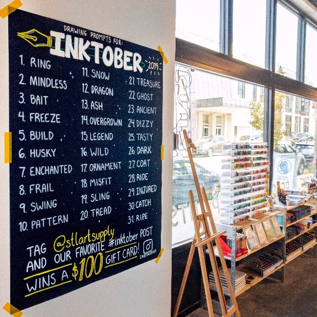 Nicki's Central West End Guide Art & Architecture Shop News  St. Louis Art Supply inktober2019 Carson Monetti